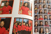 Image of a yearbook showing some pictures of previous students.