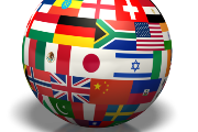 Globe with flags from around the world