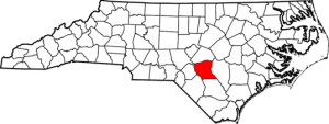 Cumberland County highlighted in red on map of North Carolina