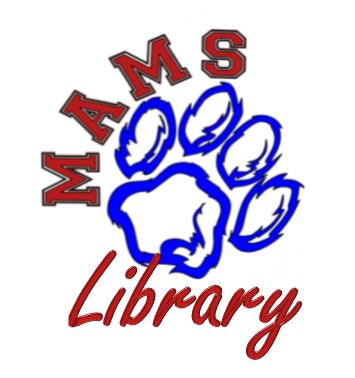 panther paw print with Library written underneath. M A M S letters curved above the pawprint