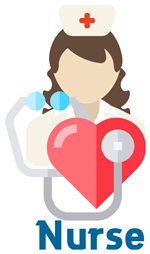 nurse with stethoscope on a heart captioned nurse beneath