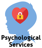 silhouette of side of a boy's head with heart and lock centered captioned Psychological Services
