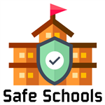 school with shield on front with a check mark design captioned safe schools