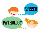 clip-art of a boy and a girl with speech bubbles captioned speech pathology