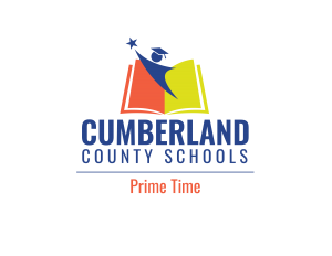 red, yellow & blue logo of Cumberland County Schools with Prime Time in red