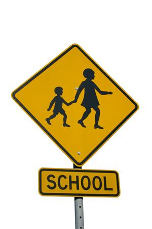 Yellow with black border diamond sign, school crossing