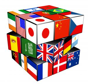 International flags on a rubic's cube