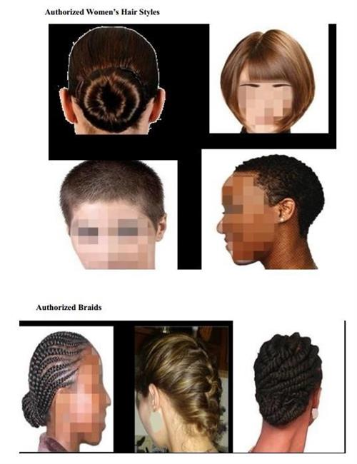 Images of seven women displaying the different hairstyles for ROTC female cadets