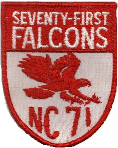 Image of the Seventy-first Falcons NC 71 in red.