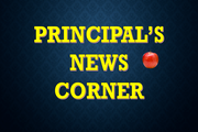 Black background with yellow lettering reading principal's corner