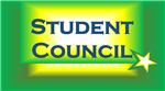 The words student council on a green, white and gold gradient background and a star in the lower right corner