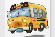 Graphic of school bus with kids getting on and kids sitting on the school bus.  The bus is yellow