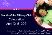 Children laying in a circle with heads together.  Purple in color in honor of the military child