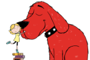 Clifford the dog and  Little girl petting him