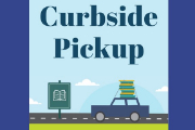 Curbside Pick-Up with image of car with book stack on top