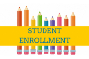 Colored pencils covered with a yellow box with Student Enrollment in blue stencil letters