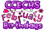 Image of CCECHS February Birthdays in purple and pink decorative lettering