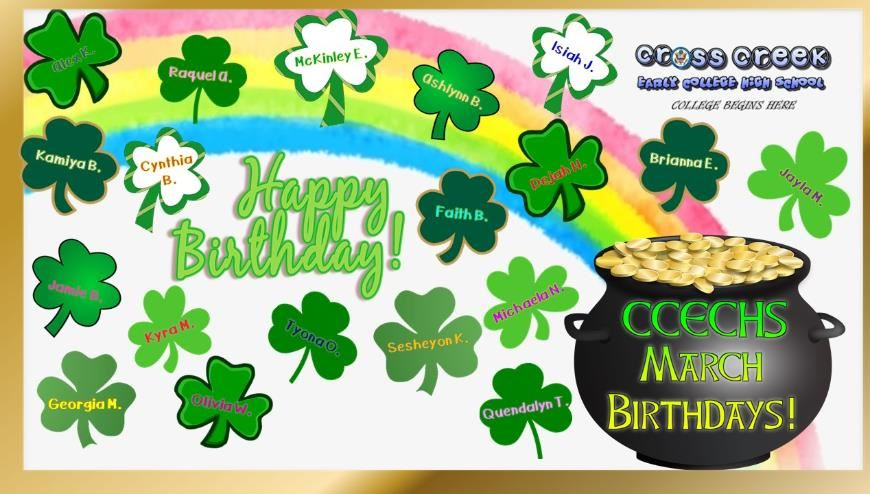 Collage of shamrocks with students names, rainbow in back, Happy Birthday center, pot of gold with CCECHS March Birthdays