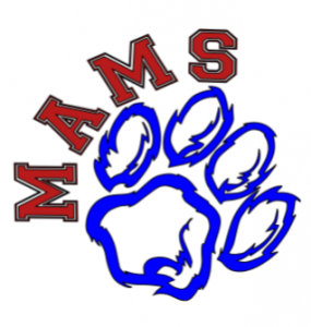 clipart of a panther paw with MAMS curved over the upper left side